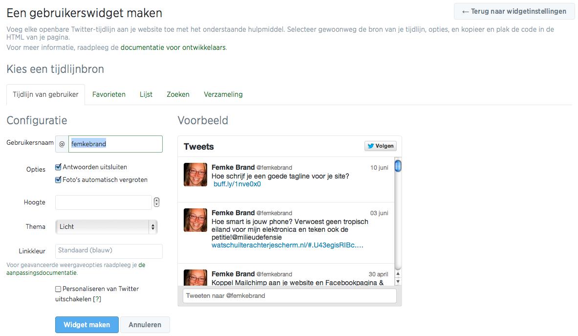 Tweets op je website zetten: Twitter widget